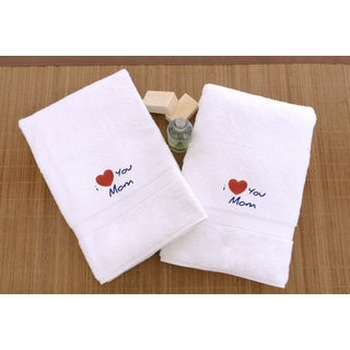 """Authentic Hotel & Spa """"I Love you Mom"""" Monogrammed Turkish Cotton Hand Towels - Set of 2"""