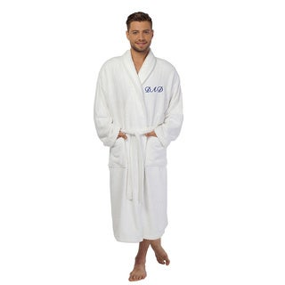 Authentic Hotel and Spa 'Dad' Monogrammed White Terry Cloth Turkish Cotton Bath Robe