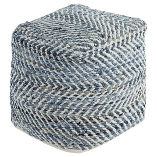 Signature Design by Ashley Chevron Blue Pouf