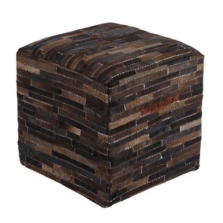 Signature Design by Ashley Cowhide Dark Brown Pouf