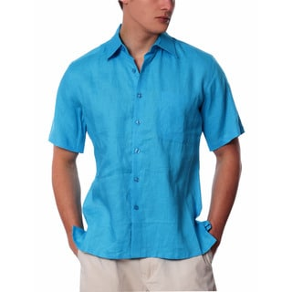 Men's Pocket Short Sleeve Button Down Linen Shirt