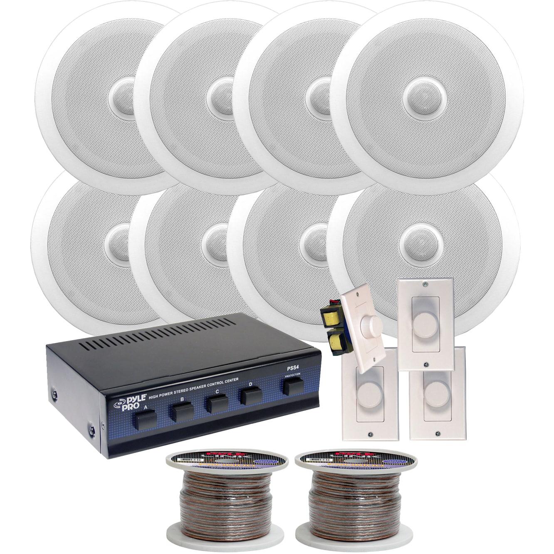 Pyle KTHSP350 250-watt Speakers System with 8 6 5-inch In-ceiling Speakers/  Volume Controls/ Speaker Selector/ Speaker Wire