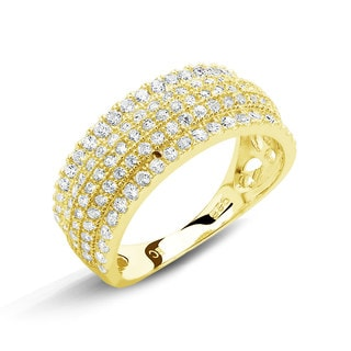 Goldplated Sterling Silver Micropave Cubic Zirconia Bordered Ring