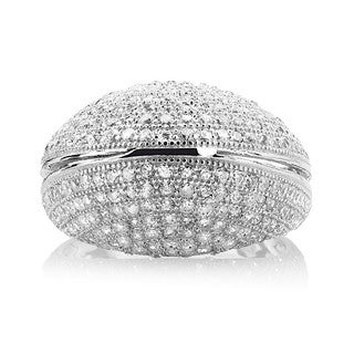 Sterling Silver Micropave Cubic Zirconia Dome Ring