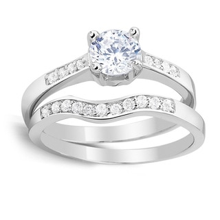 Sterling Silver Round Cubic Zirconia Engagement Ring and Band Set