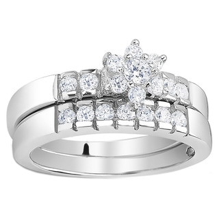 Sterling Silver Cubic Zirconia Flower Engagement Ring and Band Set