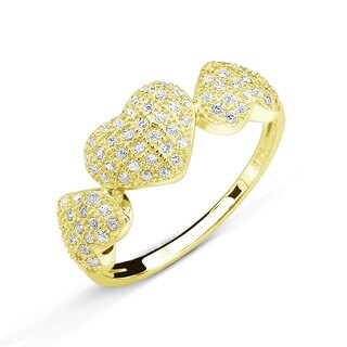 Goldplated Sterling Silver Micropave Cubic Zirconia Hearts Ring