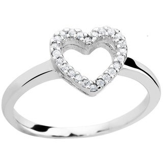Sterling Silver Cubic Zirconia 3-heart Ring