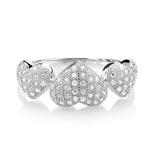 Sterling Silver Micropave Cubic Zirconia Hearts Ring