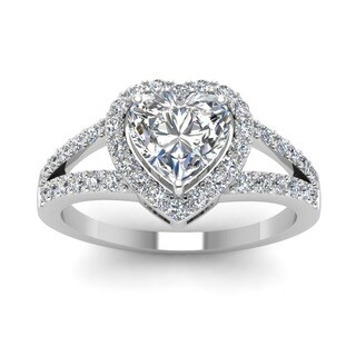 14k White Gold 1/2ct Heart-cut Diamond Engagement Rings by Fascinating Diamonds (G-H, VS1-VS2, GIA)