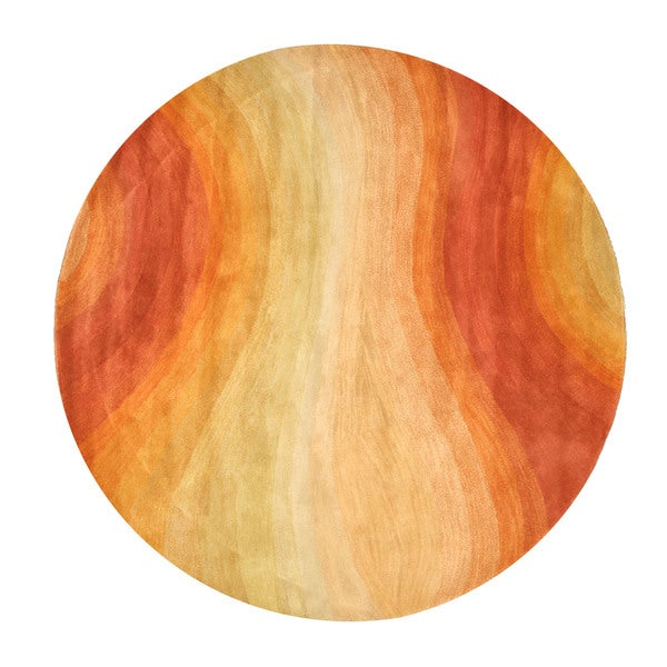 Hand-tufted Wool Orange Contemporary Abstract Desert Rug - 4' Round