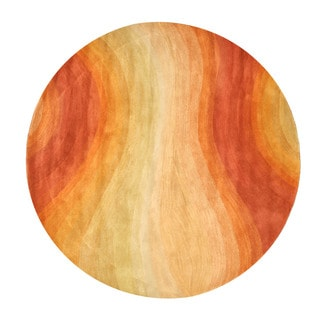 Hand-tufted Wool Orange Contemporary Abstract Desert Rug (4' Round)