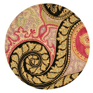 EORC Hand-tufted Wool Black Paisley Rug (4' Round)