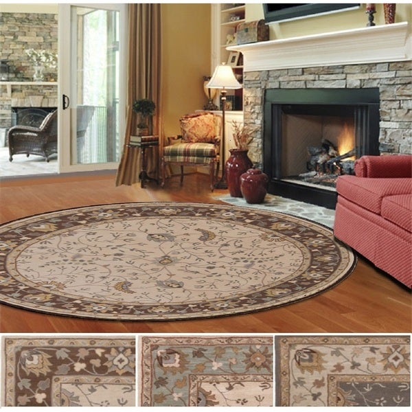 """Hand-Tufted Toby Wool Area Rug (9'9 Round) - 9'9"""" Round"""