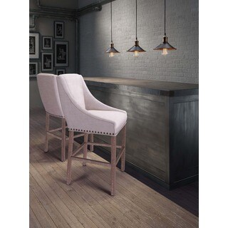 Indio Oak Wood and Beige Polyester Bar Chair