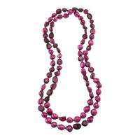 Dark Pink Freshwater Pearl Knotted Endless Necklace Jewelry for Women