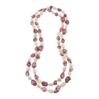 Pink and White Freshwater Pearl Knotted Endless Necklace (10-11 mm)