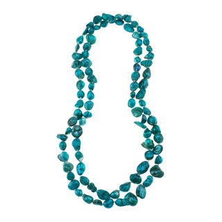 Aqua Freshwater Pearl Knotted Endless Necklace (10-11 mm)