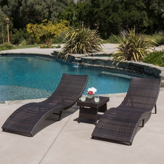 Christopher Knight Home Acapulco Outdoor 3-piece Wicker Chaise Lounge Set