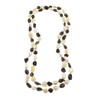Chocolate and White Freshwater Pearl Knotted Endless Necklace (10-11 mm)