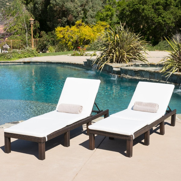 Jamaica outdoor chaise lounge with cushion set of 2 by for Garden pool loungers