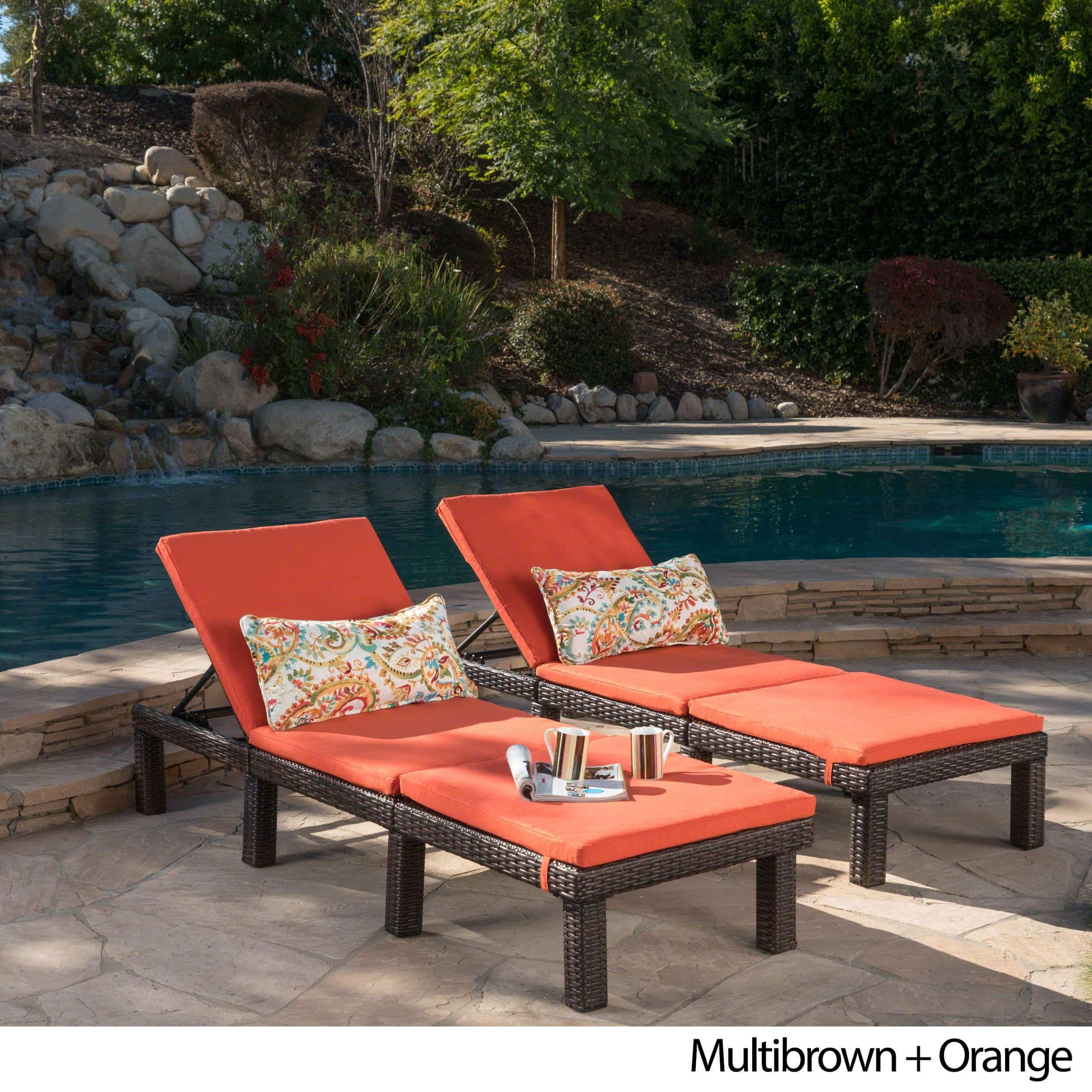 buy chaise lounge buy outdoor chaise lounges online at overstock com our 11811 | Jamaica Outdoor Chaise Lounge with Cushion Set of 2 by Christopher Knight Home f0df545e d74a 4f0a a578 3ddad069cadc