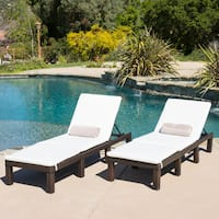 Jamaica Outdoor Chaise Lounge with Cushion (Set of 2) by Christopher Knight Home
