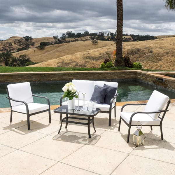 Marvelous Shop Christopher Knight Home San Ramon Outdoor 4 Piece Sofa Interior Design Ideas Clesiryabchikinfo