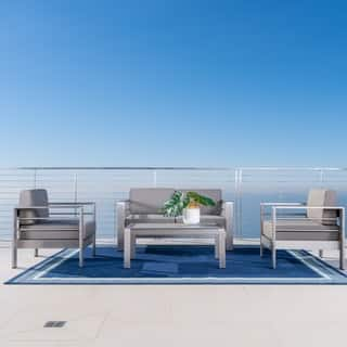 Cape Coral Outdoor Aluminum 4-piece Loveseat Set with Cushions by Christopher Knight Home|https://ak1.ostkcdn.com/images/products/10094366/P17235971.jpg?impolicy=medium