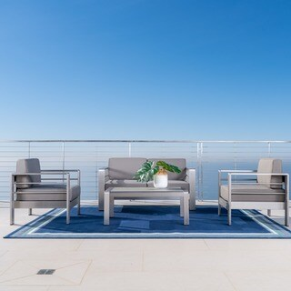Cape Coral Outdoor Aluminum 4-piece Loveseat Set with Optional Sunbrella Cushions by Christopher Knight Home