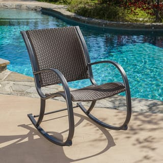 Gracie S Outdoor Wicker Rocking Chair By Christopher Knight Home
