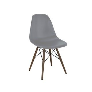 Trige Dark Grey Mid Century Side Chair Walnut Base (Set of 5)