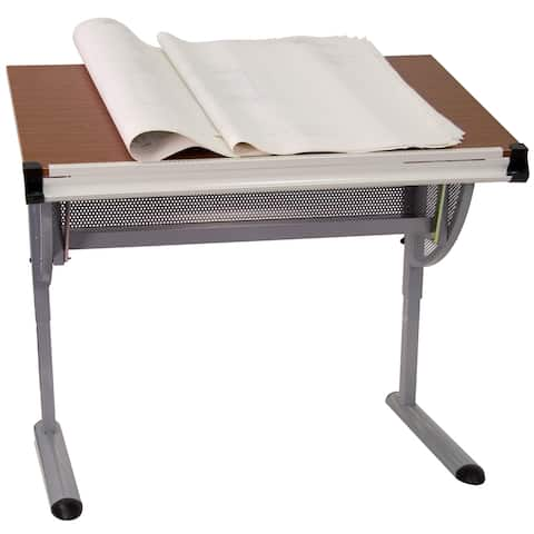 "Adjustable Drawing and Drafting Table with Pewter Frame and Lower Supply Tray - 45.25""W x 28.25""D x 34.25"" - 47.75""H"