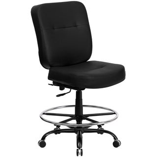 Big & Tall 400 lb. Rated Black LeatherSoft Ergonomic Drafting Chair