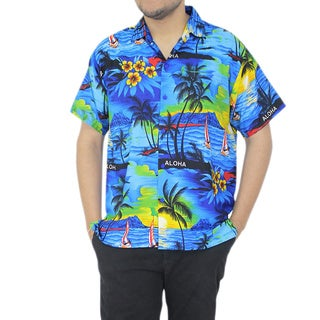 La Leela Men's Blue Hawaiian Printed Likre Beach Swim Shirt
