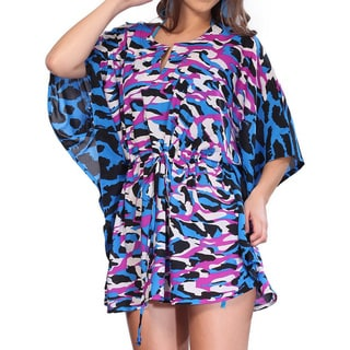 La Leela Soft LIKRE Drawstring Abstract Art Bikini Beach Cover up TUNIC TOP Blue