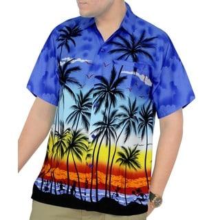 La Leela Men's Hawaiian Aloha Print Beach Short Sleeve Swim Camp Shirt
