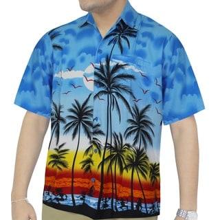 La Leela Men's Light Blue Palm Tree Aloha Hawaiian Shirt
