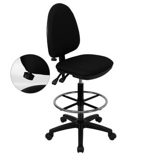 Black Fabric Adjustable Drafting Stool