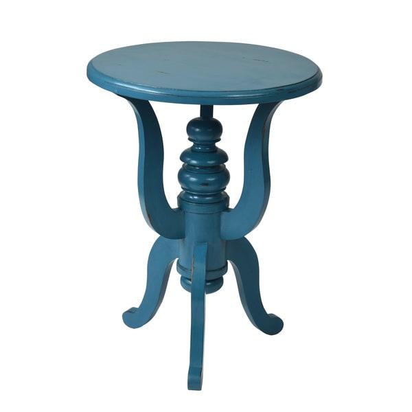 Shop Decorative Deadwood Blue Round Accent Table Free