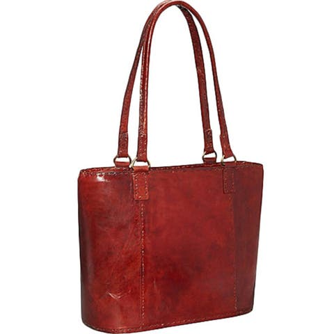 Sharo D-2 Red Rustic Leather Tote - Brown - Medium