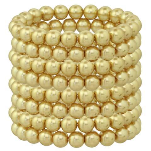 Alexa Starr Ivory and Black Glass Pearl Stretch Bracelet Set