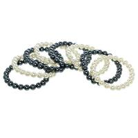Ivory and Black Glass Pearl Stretch Bracelet Set