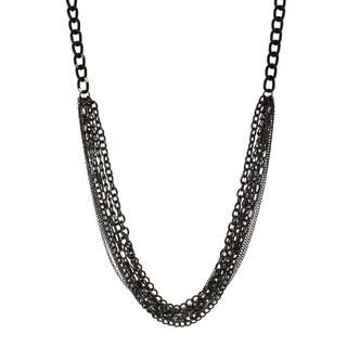 Alexa Starr Multi-row Hematite Chain Neckalce