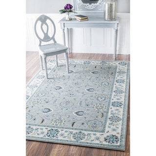 nuLOOM Traditional Persian Floral Silver/ Aqua Rug (5'3 x 7'9)