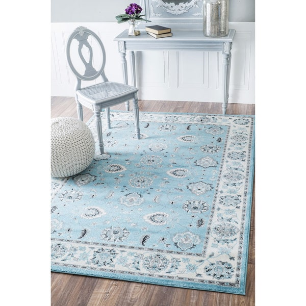 Shop NuLOOM Traditional Persian Floral Silver/ Aqua Rug (7
