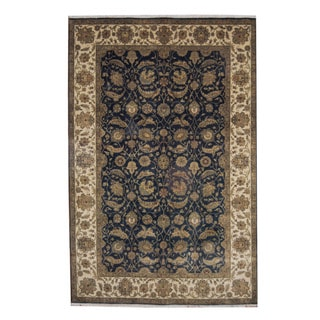 Herat Oriental Indo Hand-knotted Mahal Navy/ Ivory Wool Rug (5'10 x 9')