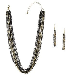 Alexa Starr Swag Short or Long Multi-Strand Chain and Tassel Drop Earrings Jewelry Set