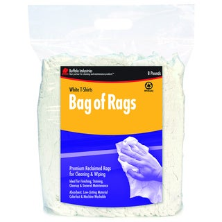 Buffalo Industries 10526PB Compressed Poly Bag of 8 White Rags