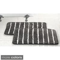 Elegance Spa 20x32-inch Cotton Striped Memory Foam Bath Rug (Set of 2)